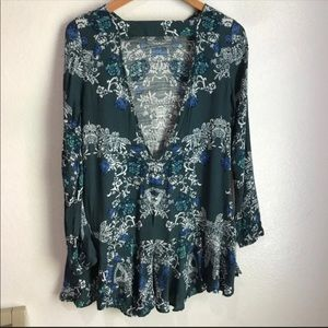 Free People Dresses - ‼️SOLD‼️Free People Smooth Talker Green Tunic